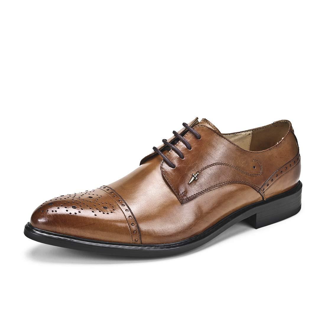 MERRYHE Echtes Leder Brogues für Männer Vintage Lace Up Derby Klassische Business Formale Schuhe Hochzeit Schuhe