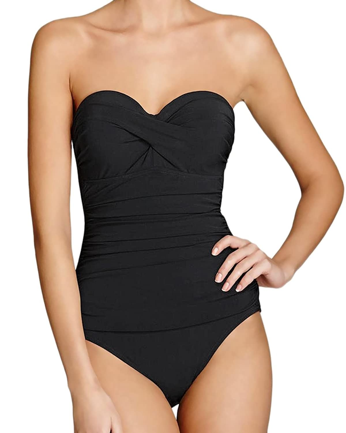 Profile by Gottex Black Tutti Frutti Twist Front Bandeau D-Cup Underwire One Piece Swimsuit