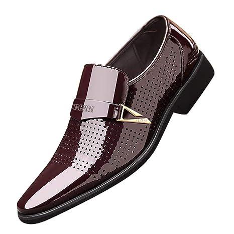 Zapatos de piel para hombre, piel lacada clara, cómodos ...