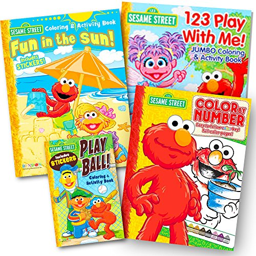 - Sesame Street Coloring Book Super Set with Sesame Street Stickers (4 Jumbo Books Featuring Elmo, Cookie Monster, Big Bird and More)