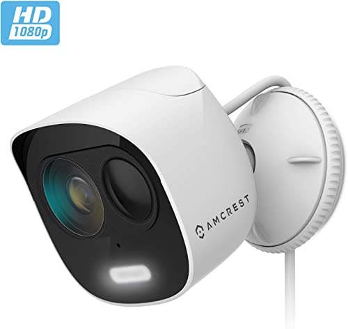 Amcrest SmartHome 1080p WiFi Outdoor Security Camera with Spotlight, Built-in Siren Alarm, Strobe Light, Two-Way Audio, Night Vision, 133 View, IP65 Weatherproof, MicroSD Smart Cloud Storage, ADC2W