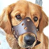 Dekawei Dog Muzzle Adjustable Anti-biting Muzzles for Small Medium Large Dogs Barking Bitting Chewing Pet Cat Leather Mask Muzzles(S)