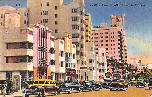 Miami Beach Florida Collins Ave Bldgs Art Deco Antique Postcard - Ave Miami Collin Beach