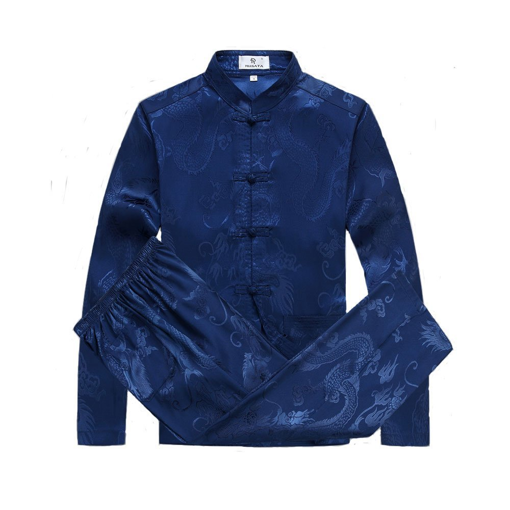 ZooBoo Mens Chinese Traditional Martial Arts Kung Fu Uniform Long Sleeve Tang Suit (Royal Blue, XXL) by ZooBoo