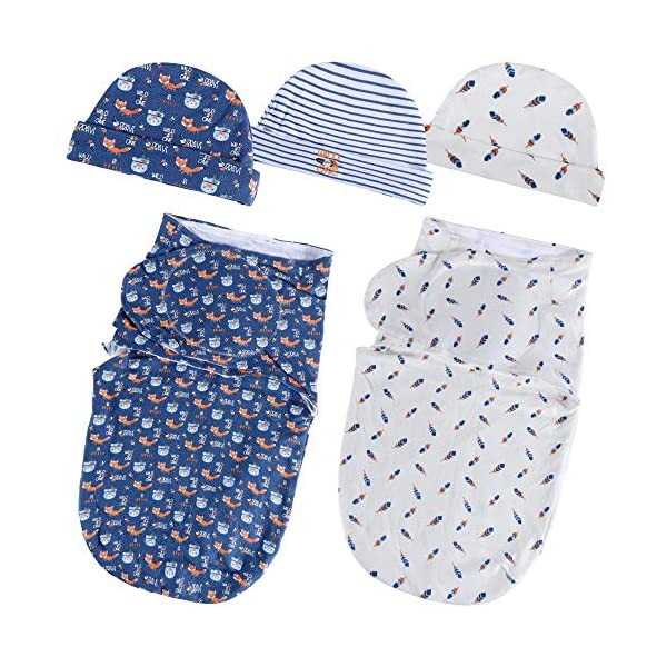 Lictin Baby Swaddle Blankets for Newborn Baby 0-6 Months (56x28cm) – Swaddle Blanket 0-3 Months Adjustable Swaddle Blanket 3-6 Months 2pcs Wrap Blankets with 3pcs Baby Cotton Caps