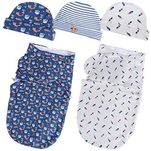 Lictin Baby Swaddle Blankets for Newborn Baby 0-6 Months (56x28cm) - Swaddle Blanket 0-3 Months Adjustable Swaddle Blanket 3-6 Months 2pcs Wrap Blankets with 3pcs Baby Cotton Caps