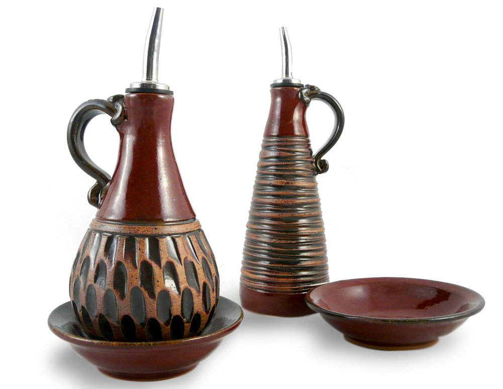 American Made Earthy Terrain Carved Pottery Cruet and Dipping Dish Serving Set, Moroccan Red by Modern Artisans