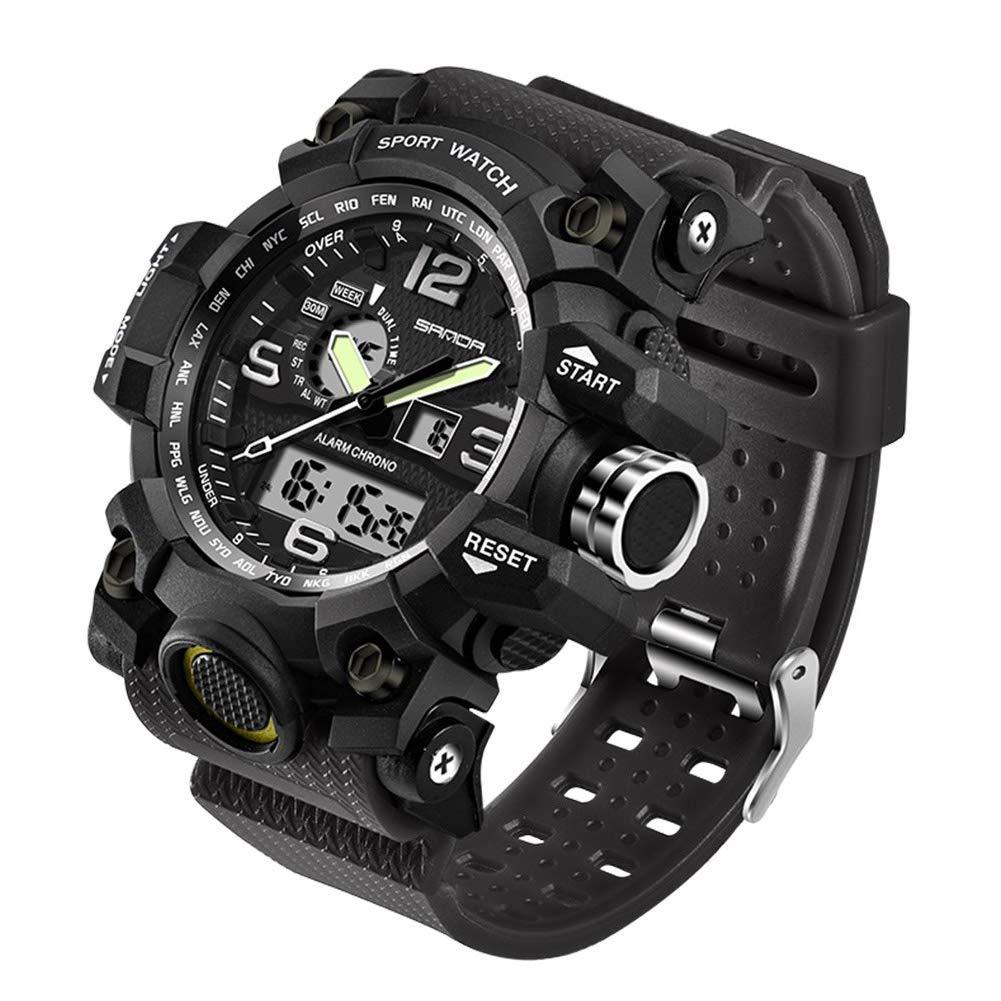 Men's Military Watch, Dual-Display Waterproof Sports Digital Watch Big Wrist for Men with Alarm (Black) by WISHFAN (Image #3)