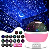 MOKOQI Star Projector, Kids' Party Centerpieces, Multiple Colors Night Light Lamp Romantic Rotating Cosmos Star Sky Moon Projector for Children Kids Bedroom (Pink)