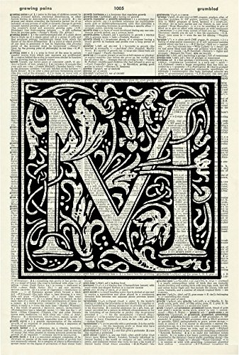 - LETTER M - ALPHABET ART PRINT - VINTAGE ART PRINT - WILLIAM MORRIS Art Print - Personalised Name - Black & White Print - Personalised Gift - Vintage Dictionary Art Print - Wall Art - Book Print 534D