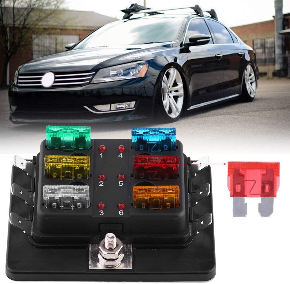 Keenso 6 Way Blade Fuse Box Holder Circuit Blade Fuse Box Block Holder with LED Warning Light Kit for Car Boat Marine Trike 5A 10A 15A 20A 25A 30A Led Indicator