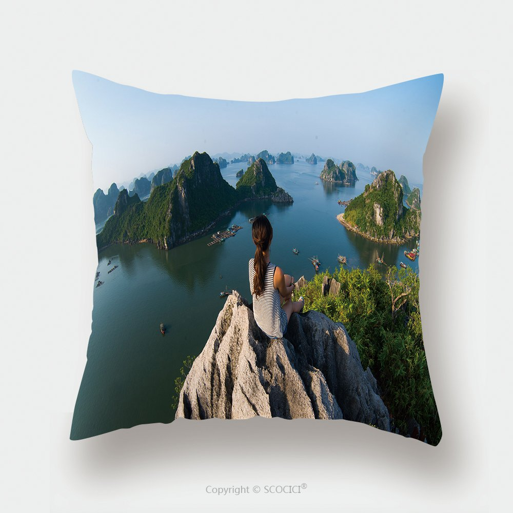 Custom Satin Pillowcase Protector A Young Traveler Girl Sit On The Top Of Mountain In Halong Bay And Enjoy The Beauty Of Seascape 298757792 Pillow Case Covers Decorative by chaoran