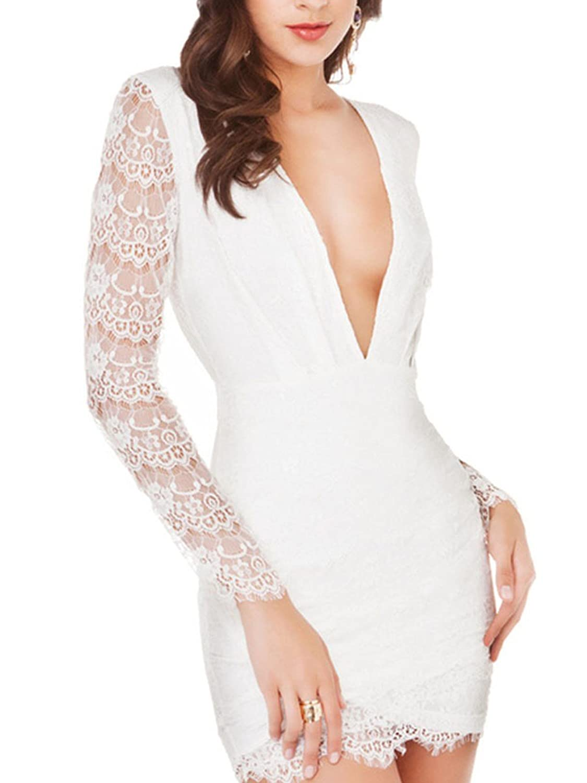 LOBTY Damen Rückenfrei AbendKleider Dress V-Ausschnitt Knielang Kleid mit Spitze Sommer Cocktail Kleider Schwarz Weiß