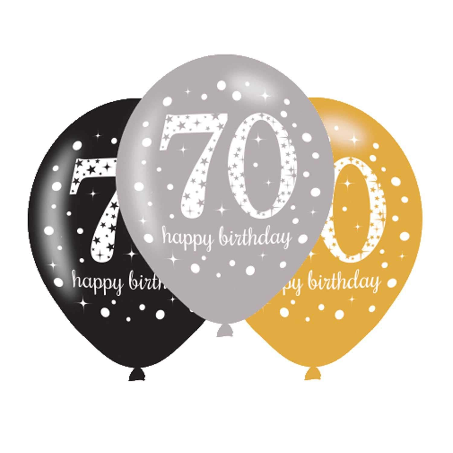 2 X 70th Birthday Balloons Black Silver Gold Pack Of 6 Amazoncouk DIY Tools