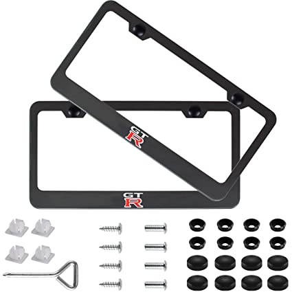 2X Mazda CX-5 Black Stainless Steel License Plate Frame Rust Free W// Bolt Cap