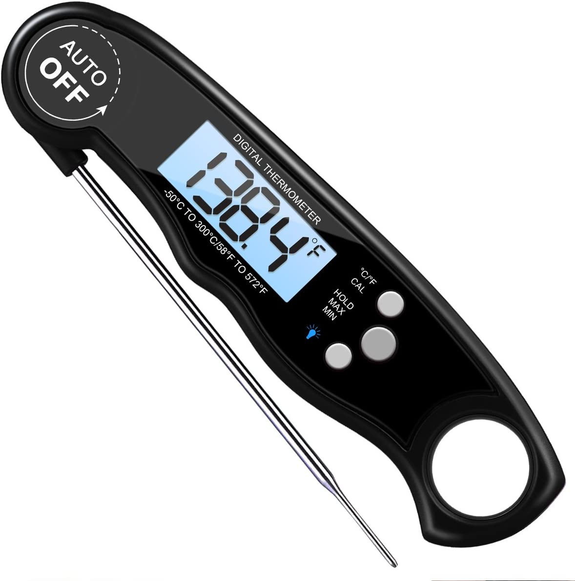 ORIA Meat Thermometer, Waterproof Cooking Food Thermometer, Digital Instant Read Meat Thermometer with Backlight, Calibration, Auto Off, Hold/Max/Min Button for Kitchen, Cooking Food, BBQ, Black