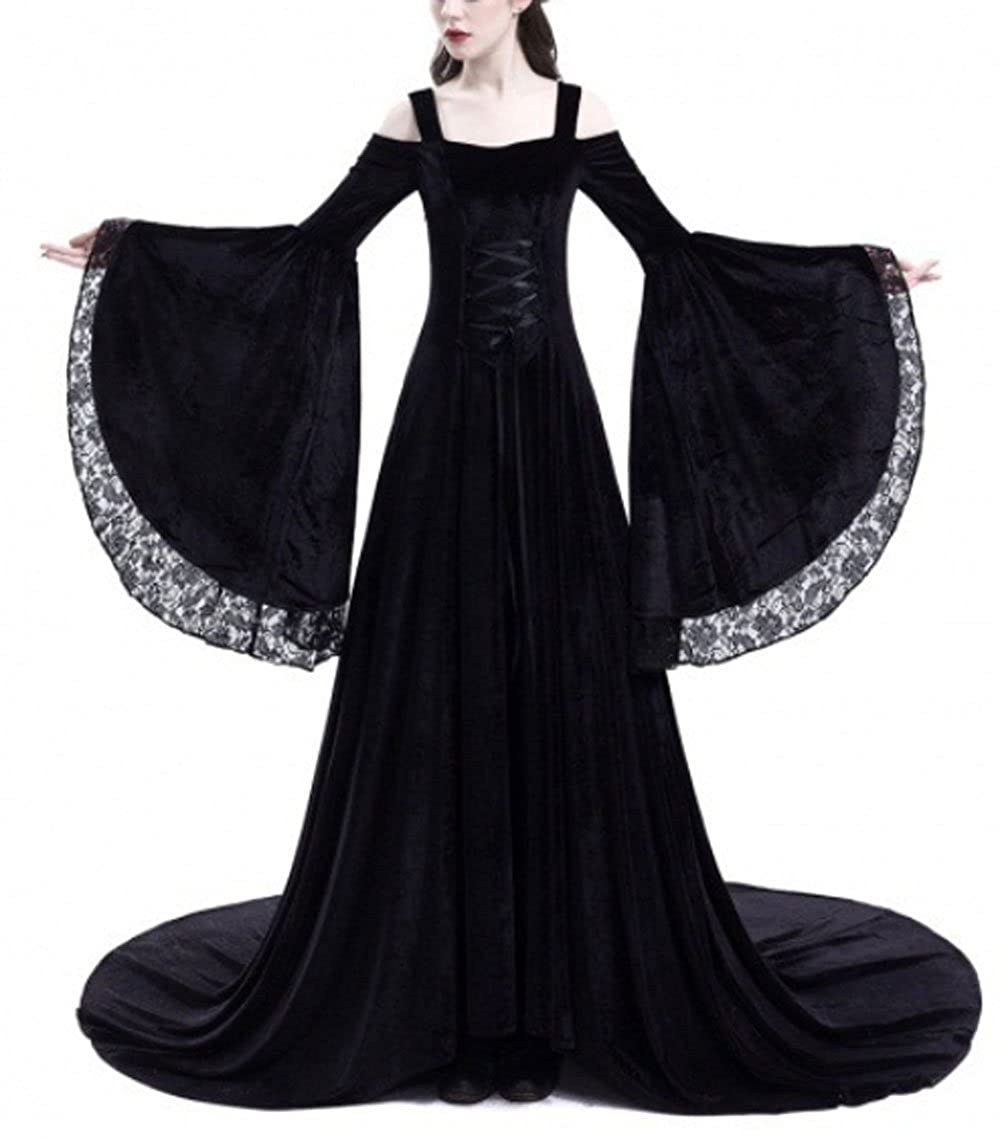23c9752065a2 Amazon.com: Pevor Womens Renaissance Medieval Irish Dress Retro Victorian  Gown Halloween Cosplay Costume: Clothing