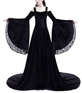 2591ac2af3 Amazon.com  Pevor Womens Renaissance Medieval Irish Dress Retro Victorian  Gown Halloween Cosplay Costume  Clothing