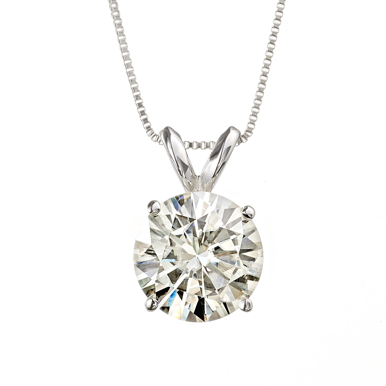 8.0mm Round Brilliant Cut Moissanite White Gold Pendant Necklace, 3.80cttw DEW By Charles & Colvard