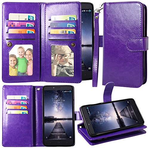 ZTE Zmax Pro Case, ZTE Carry Case, Harryshell 12 Card Slot PU Leather Wallet Flip Case Cover with Wrist Strap for ZTE Blade X Max Z983 /Grand X Max 2/Max Duo/Imperial Max Z963U/Kirk Z988 (Purple)
