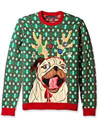 Blizzard Bay Mens Reindeer Pug Ugly Christmas Sweater Sweater