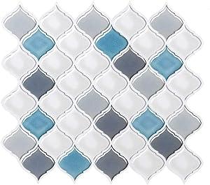VIVID TREE Peel and Stick Backsplash Tile Adhesive Removable Self-Adhesive Wall Tile Arabesque Kitchen Backsplash Wall Sticker Tile Retardant for Apartment,Kitchen,Bathroom,Home Decoration(4 Sheets)