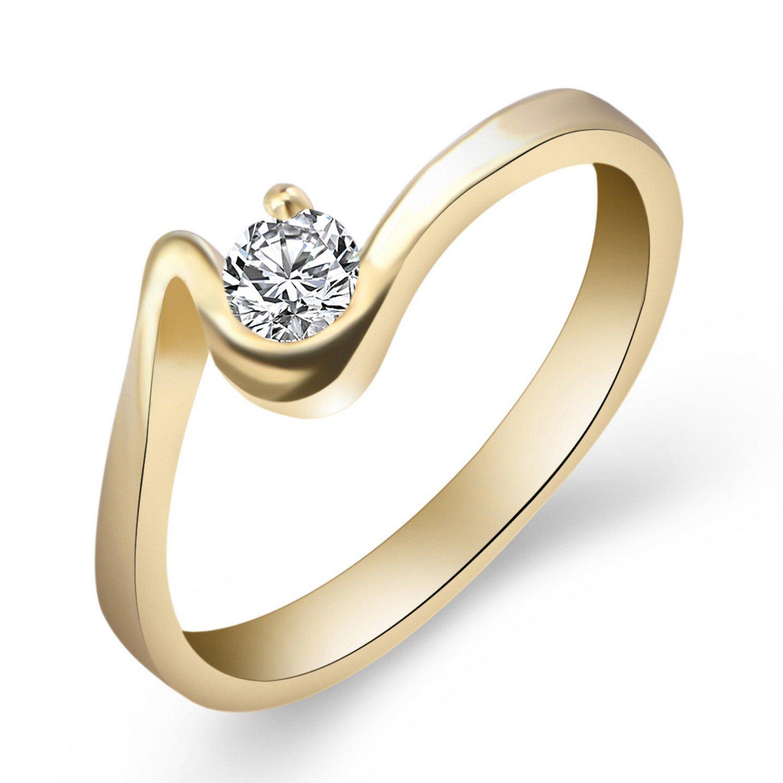 Cherryn Vintage Sliver Rose Gold Color Round Ring rose gold engagement ring fashion ring holder
