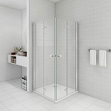 Cabina de ducha para esquina de entrada de 90 x 90 x 195 puerta plegable 180o mampara de ducha de vidrio templado de 6 mm (sin ducha de cristal): Amazon.es: Bricolaje y herramientas