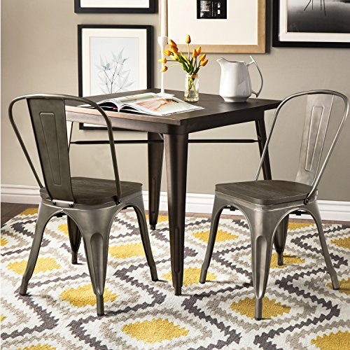 Furmax Metal Dining Chair with Wood Seat,Indoor-Outdoor Use Stackable Chic Dining Bistro Cafe Side Metal Chairs Set of 4 (Gun) by Furmax (Image #5)