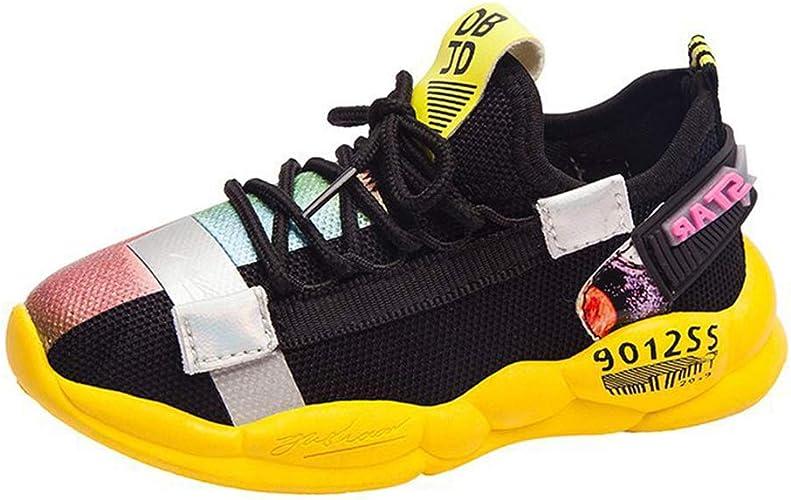 Niños Zapatillas de Trail Running Caminar Zapatos Deporte Transpirable Comodidad Mesh Sneakers con Cordones Zapatos Atléticos Moda Reflexivo Color de Empalme Zapatos Casuales: Amazon.es: Zapatos y complementos