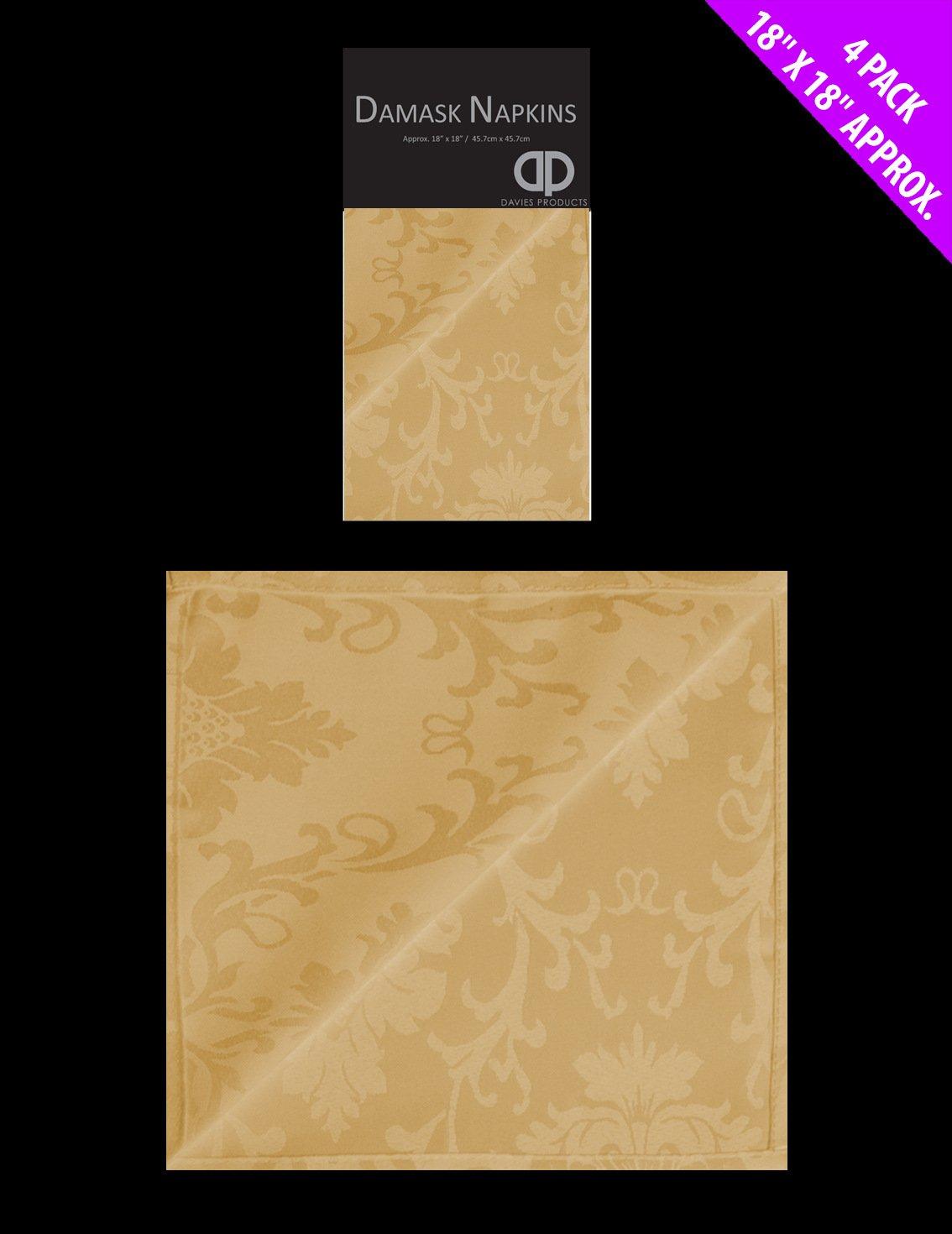 Set Of 4 Damask Gold Cloth Napkins Large 18 x 18 Fabric Christmas Napkin Pack