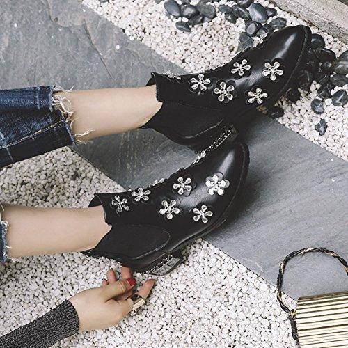 Btrada Womens Elastische Panel Booties Slip Op Hak Enkellaarzen Schoenen Zwart