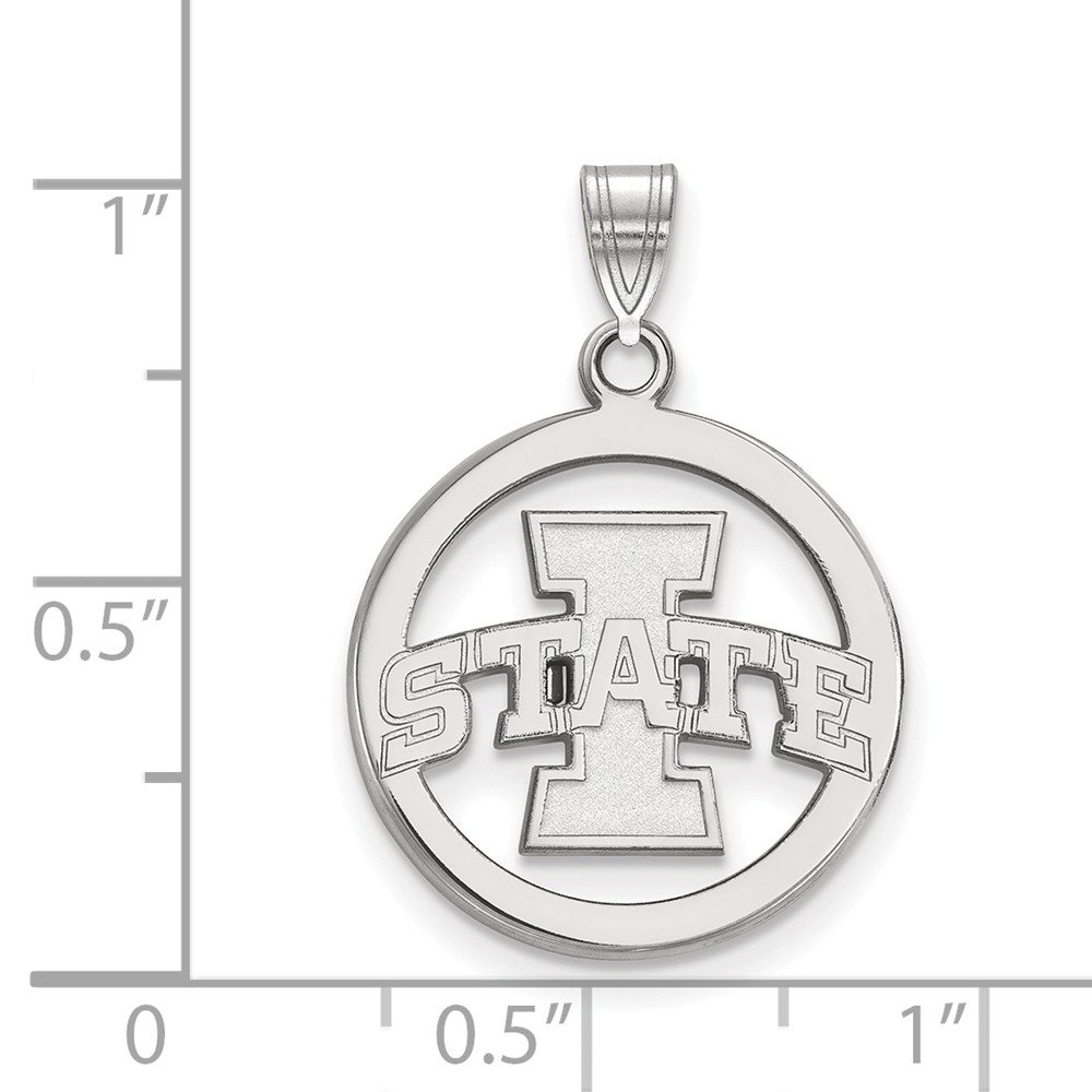 17mm x 26mm Jewel Tie 925 Sterling Silver Iowa State University Sm Pendant in Circle