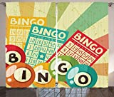 Vintage Decor Curtains Bingo Game with Ball and Cards Pop Art Stylized Lottery Hobby Celebration Theme Living Room Bedroom Window Drapes 2 Panel Set Multi