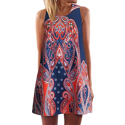 7f0a82d589a Image Unavailable. Image not available for. Color  Women Tunic Tops Dresses  Lady Plus Size Vintage Print Sleeveless Evening Party Mini Dress