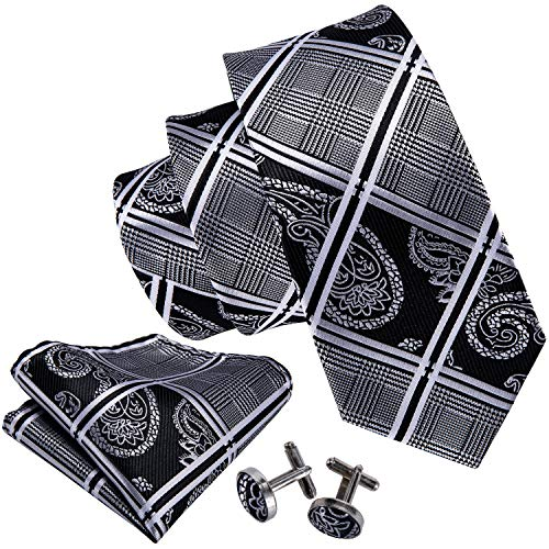 Barry.Wang Formal Ties Black Grey Neckties for Men Set Paisley - Black Paisley Tie Silk