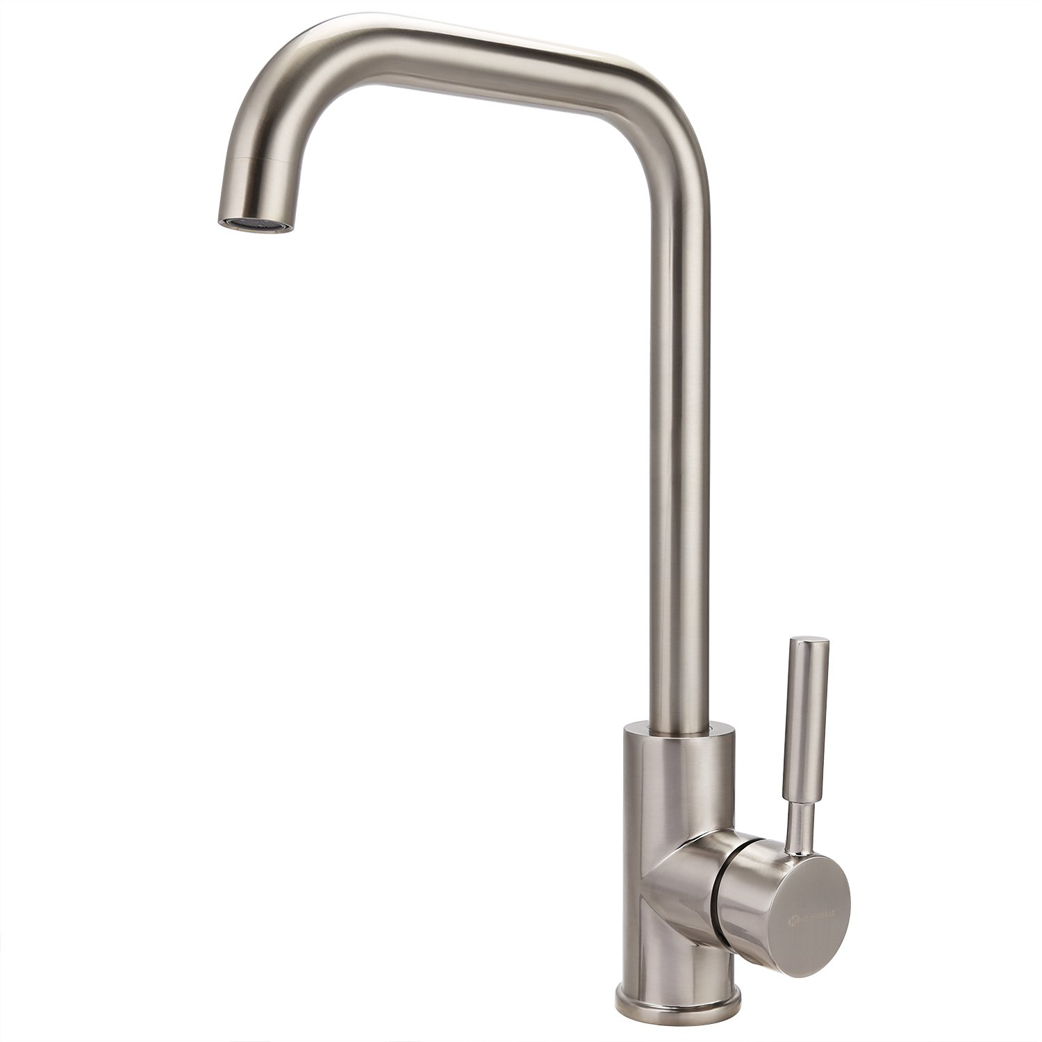 HOMEIDEAS Kitchen Sink Faucet,Hot and Cold Single Handle Water Faucets 360 Degree Swivel Brushed Nickel Finished, Food Grade 304 Stainless Steel
