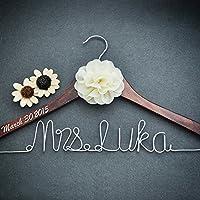 Personalized Bridal Dress Hanger Bridal Shower Gift, Custom Rustic Wedding Hanger, Bride Bridesmaid Maid of Honor Name Hanger