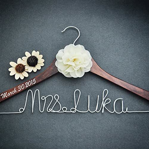 Personalized bridal dress hanger bridal shower for Wedding dress hanger amazon