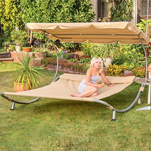Sonnenliege 2 personen  Amazon.de: Loywe Sonnenliege Doppelliege mit Dach für 2-Personen ...