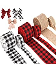 AIEX 6 Rolls Christmas Wired Ribbons, 45 Yards Black Red Plaid Ribbon Black White Buffalo Plaid Ribbon and Natural Burlap Ribbon for Xmas DIY Craft, Gift Wrapping, Christmas Craft Decorations