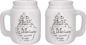 American Atelier White Salt & Pepper Shakers – Ceramic Container – Hostess or Host Gift Idea for Any Special Occasion, Housewarming or Birthday, La Maison