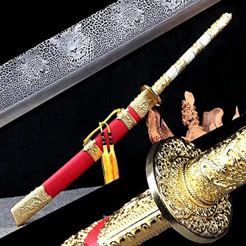 (Unique High Manganese Steel Leopard Blade Sharp Chinese Kungfu Broadsword Sword Qing Dynasty KangXi Saber Wushu Da Dao Strong Metal Handle Outdoors Fighting Broad Knife)