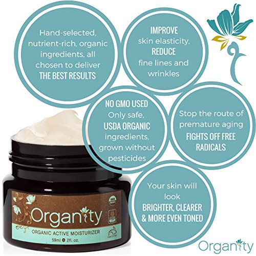 Luxurious USDA Organic Face Moisturizer - 100% All Natural Skin Care by Organity - Best Anti Aging & Anti Wrinkle Facial Cream - For Normal, Sensitive, Dry & Oily Skin - Paraben Free - 2oz Jar