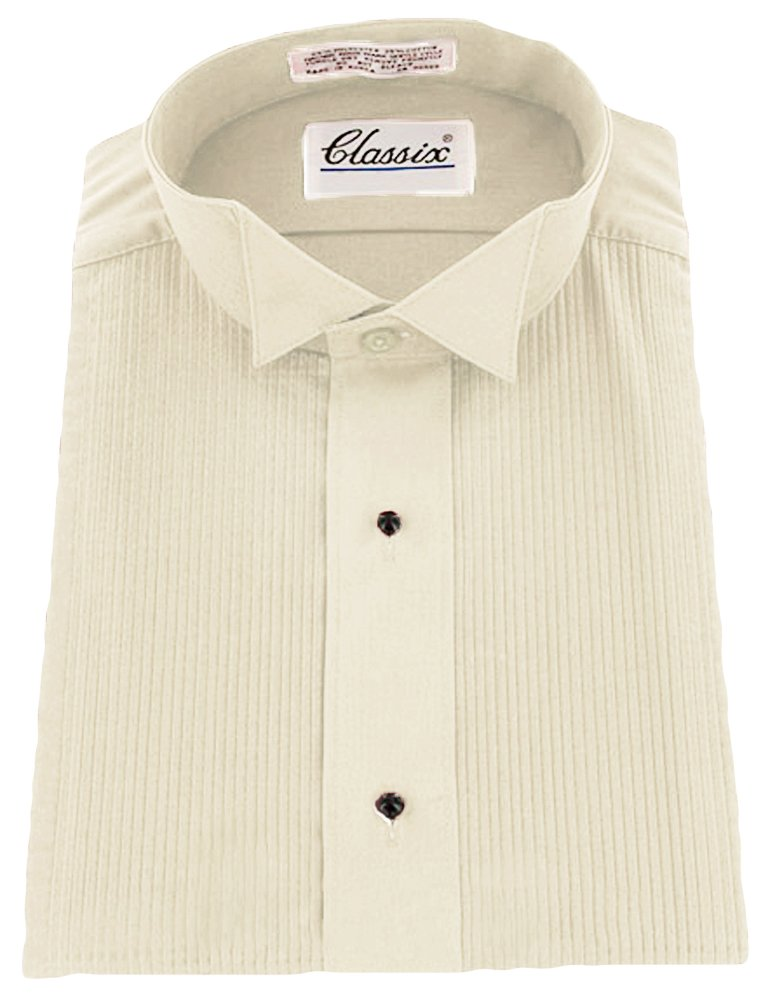 Classix Men's Tuxedo Shirt in Color Poly/Cotton Wing Collar 1/8 Inch Pleat, Ivy lg 16/16.5 36/37