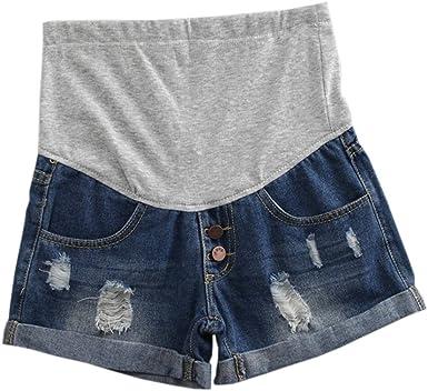 Hzjundasi Premam/á mam/á Vaqueros Shorts Denim Pantalones El/ástica Slim fit para Mujer