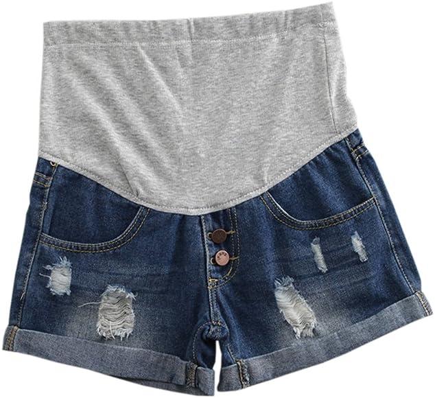 Hzjundasi Premam/á mam/á Vaqueros Shorts Denim Pantalones Suave El/ástica para Mujer