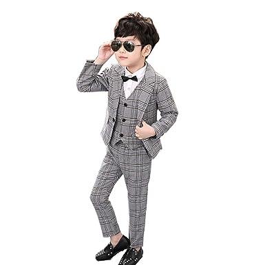 2137146f218b6 Ymgot キッズ フォーマル スーツ 男の子 3点セット 子供服 フォーマル 紳士服 チェック柄 卒