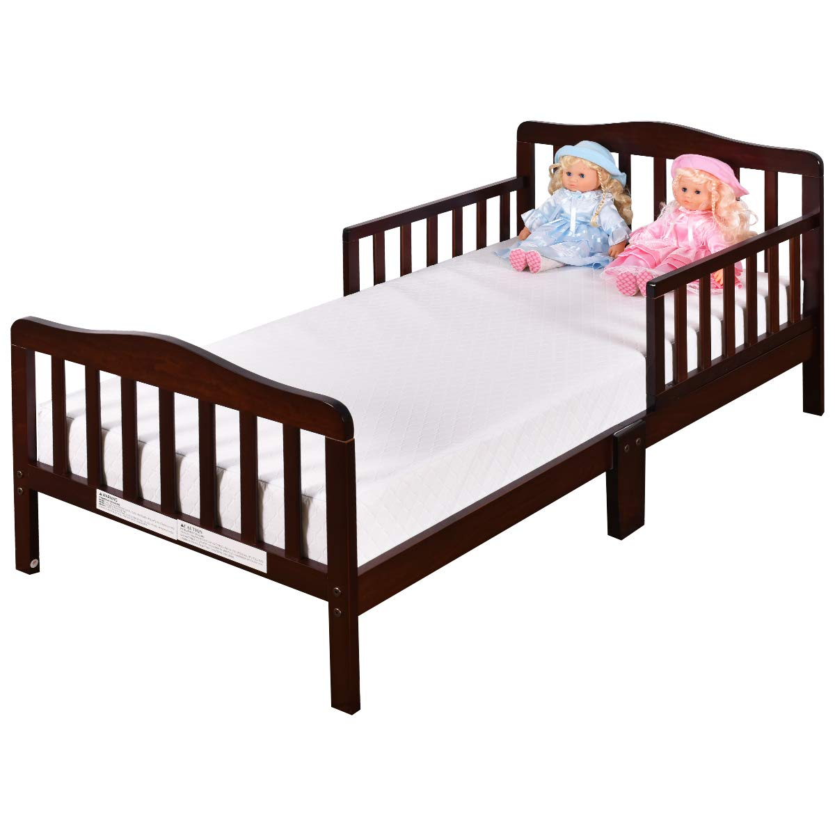Amazon com costzon toddler bed wood kids bedframe children classic sleeping bedroom furniture w safety rail fence cherry baby