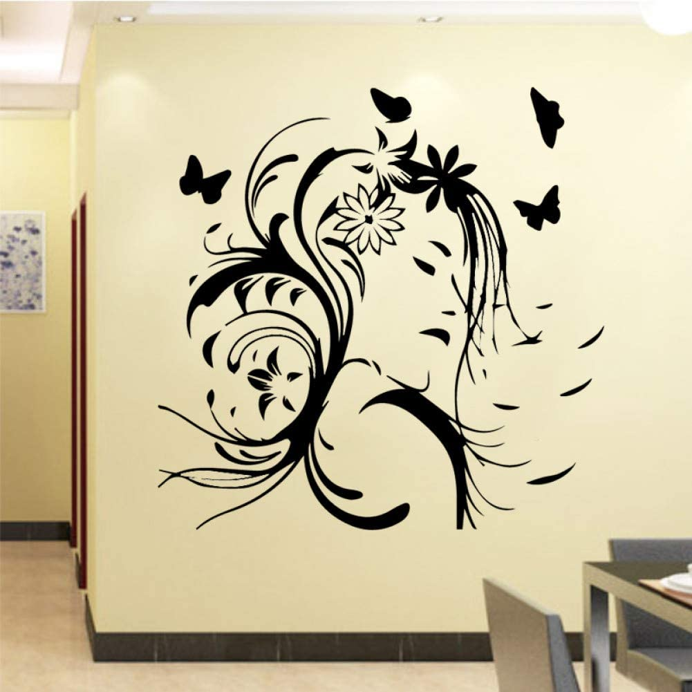 Butterfly Pattern Background Adhesive Home Decorative Clock Print Wall Sticker